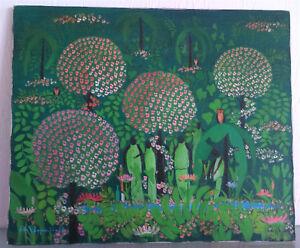Hede-REIMPRECHT-XXe-Espagne-Peinture-Huile-Tableau-paysage-anime-ART-NAIF