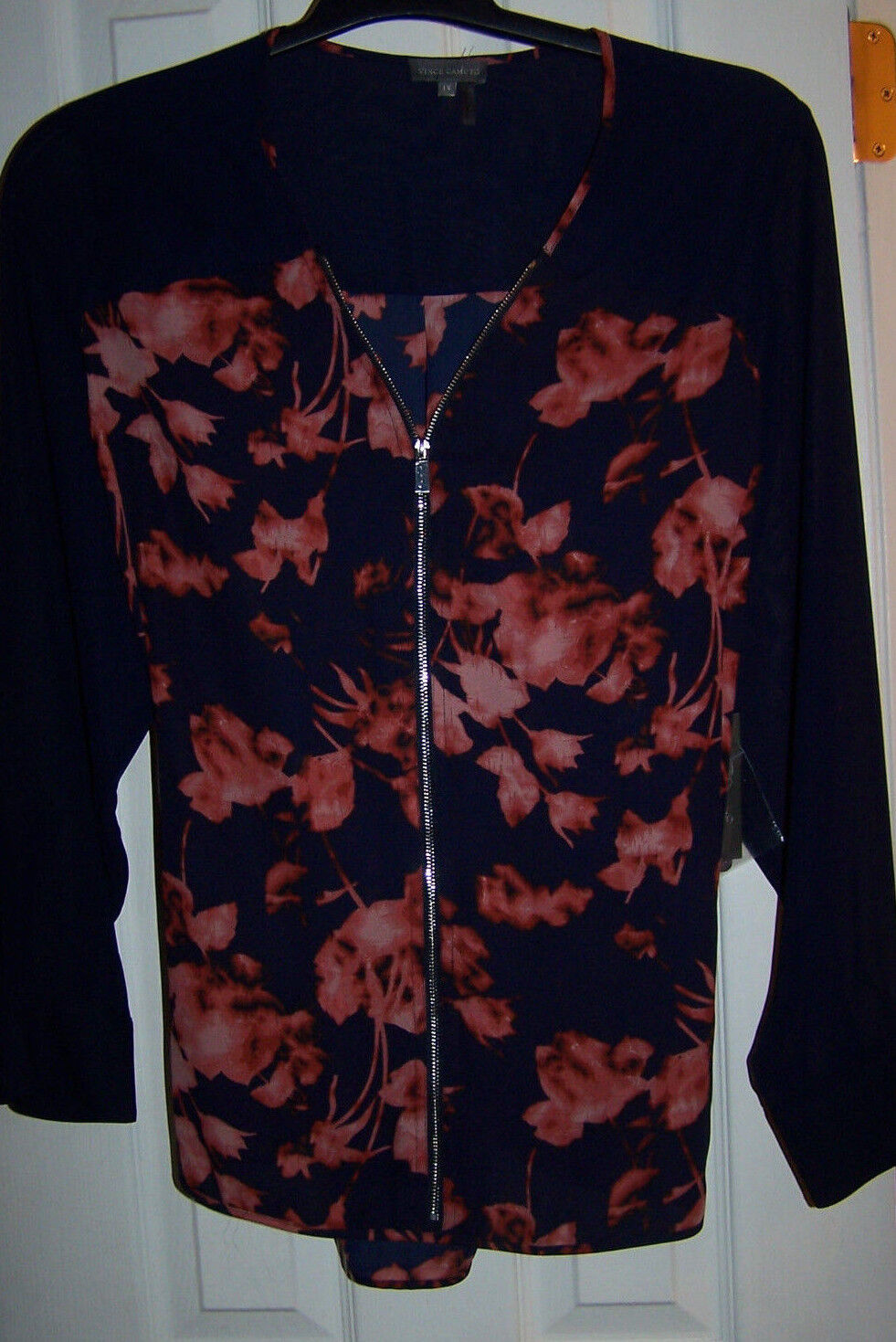 VINCE CAMUTO CITY blueES RICH SEQUOIA LONG SLEEVE TOP BLOUSE SZ 1X NWT