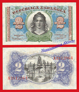 SPAIN ESPAÑA 2 PESETAS 1938 REPUBLICA ESPAÑOLA UNC