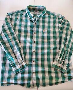 Carhartt-Long-Sleeve-Button-Up-Green-Plaid-Men-039-s-Size-XXL-2XL