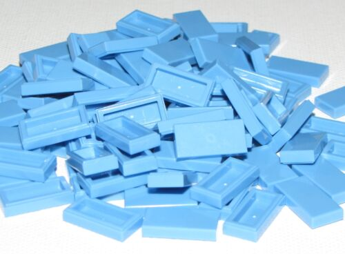LEGO Lot of 10 Medium Blue 1x2 Smooth Flat Tile Parts and Pieces