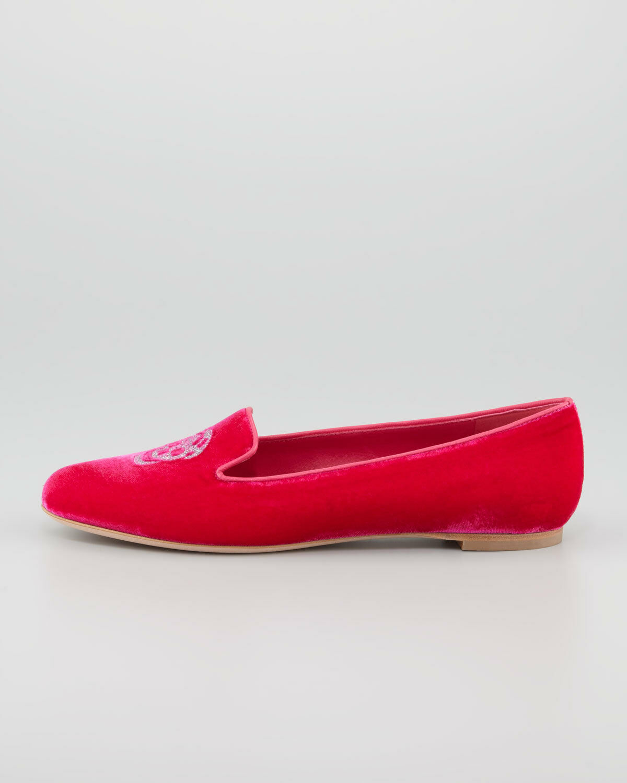 Alexander McQueen Skull Embroidered Smoking Velvet Flats Shoes Shoes Flats 39,5 3856b2