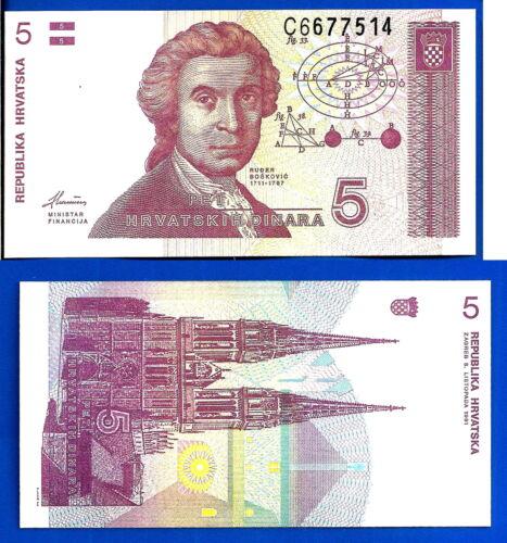 Croatia 5 Dinara 1991 UNC Croatie Hrvatska Unc Free Shipping Worldwide