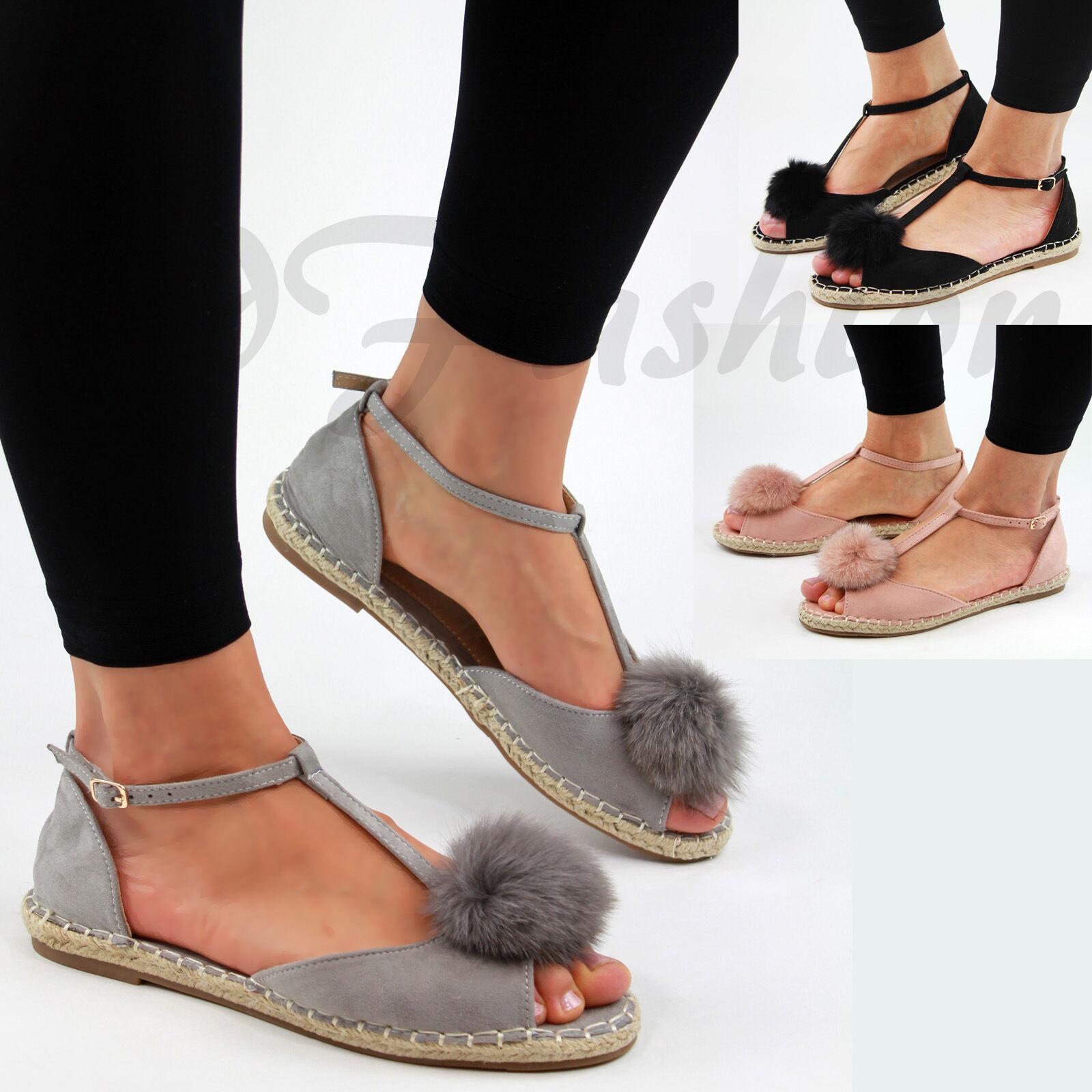 New Womens Fur Toe Pom Pom Espadrilles Peep Toe Fur Sandals Ankle Strap T-Bar Flat Shoes f2a4ab