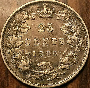1888-CANADA-SILVER-25-CENTS-QUARTER-Excellent-example
