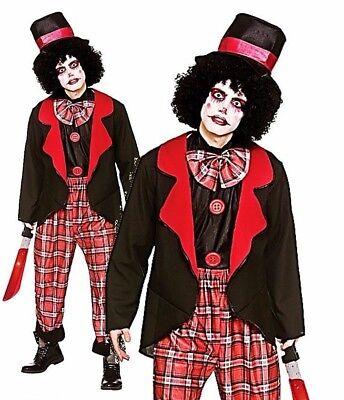 Da Uomo Classico Costume Clown Horror Freaky Del Circo Adulti Halloween Fancy Dress