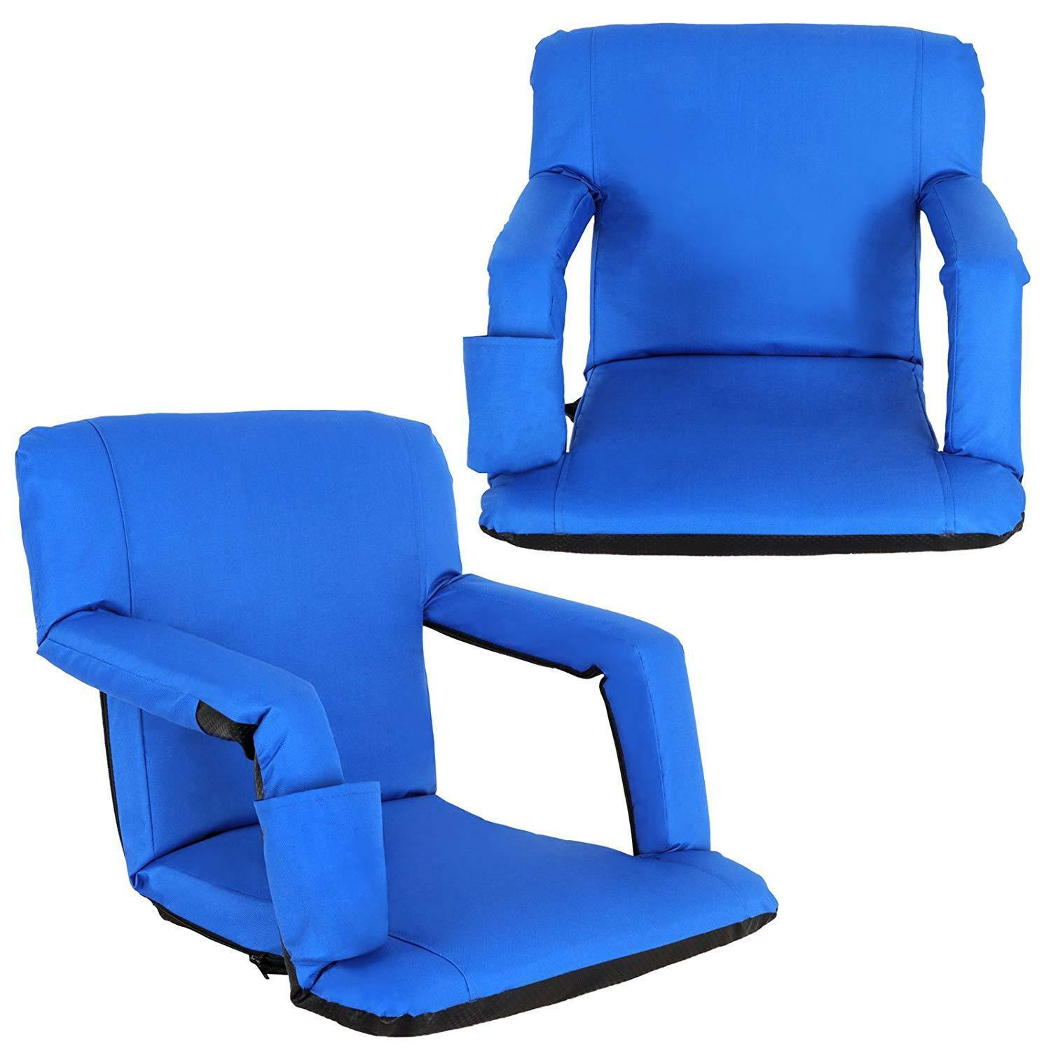 Portable 2 Pieces bluee Stadium Seat Gym Reclining Seat 5 Adjustable Positions