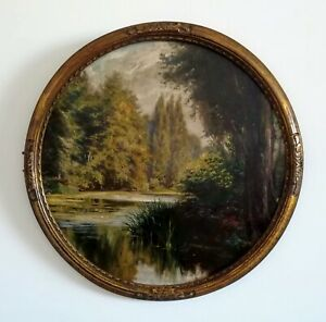 Jules-Girardet-oil-on-panel-50-cm-undergrowth-on-water-late-19-deb