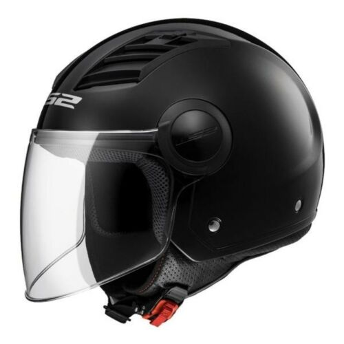 CASCO JET LS2 OF562 AIRFLOW SOLID NERO LUCIDO INTERNO REMOVIBILE PRESE D/'ARIA