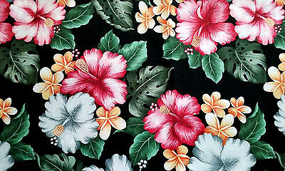 """Tropical Flowers on Black Cotton Fabric  48"""" x 44"""""""