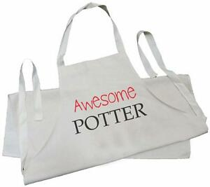 Awesome-Potter-NATURAL-COTTON-CREAM-DRILL-APRON-Pottery