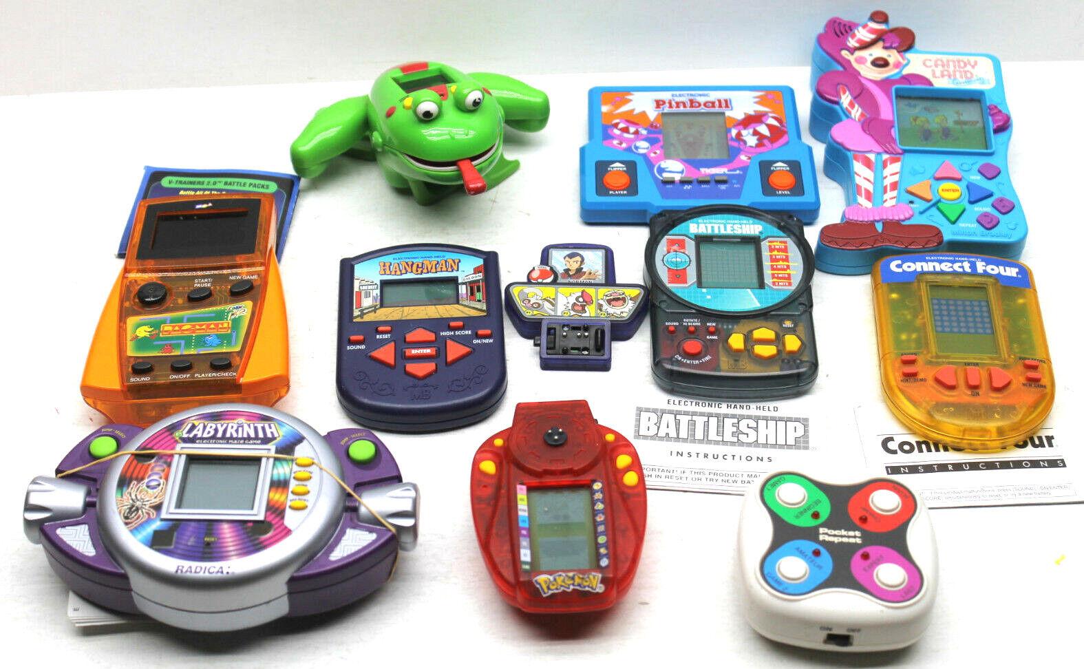 9pc temprano Vintage 1987-2002 Juegos de mano Pinball + Pokemon + + Tiger Pac Man +++++