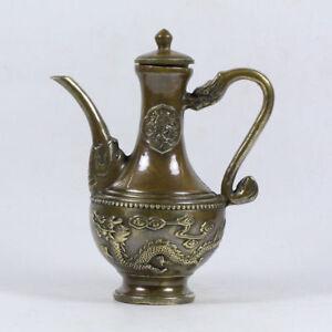 China-antique-bronze-hand-made-dragon-teapot-wine-pot-flagon-teaset