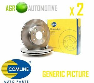 2x Genuine Comline Front Vented Coated Brake Discs Set Pair ADC1719V