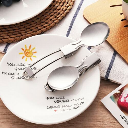 Stainless Steel Portable Camping Picnic Folding Cutlery Set Fork Spoon Convient