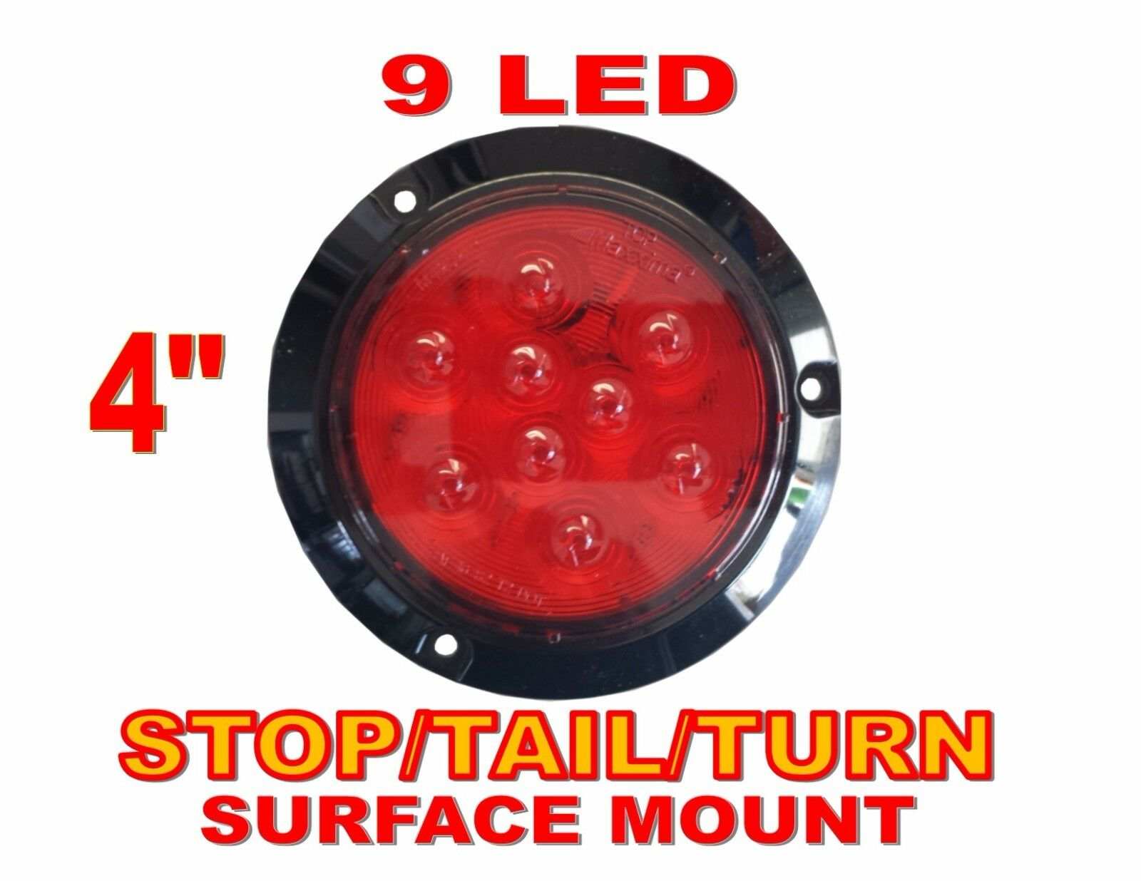 Red 4 Quot Round Stop Turn Tail Light 9 Led Surface Mount Ebay