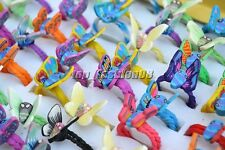 Wholesale Lots 50Pcs Colors Butterfly Polymer Clay Children's Rings 16-19mm FREE