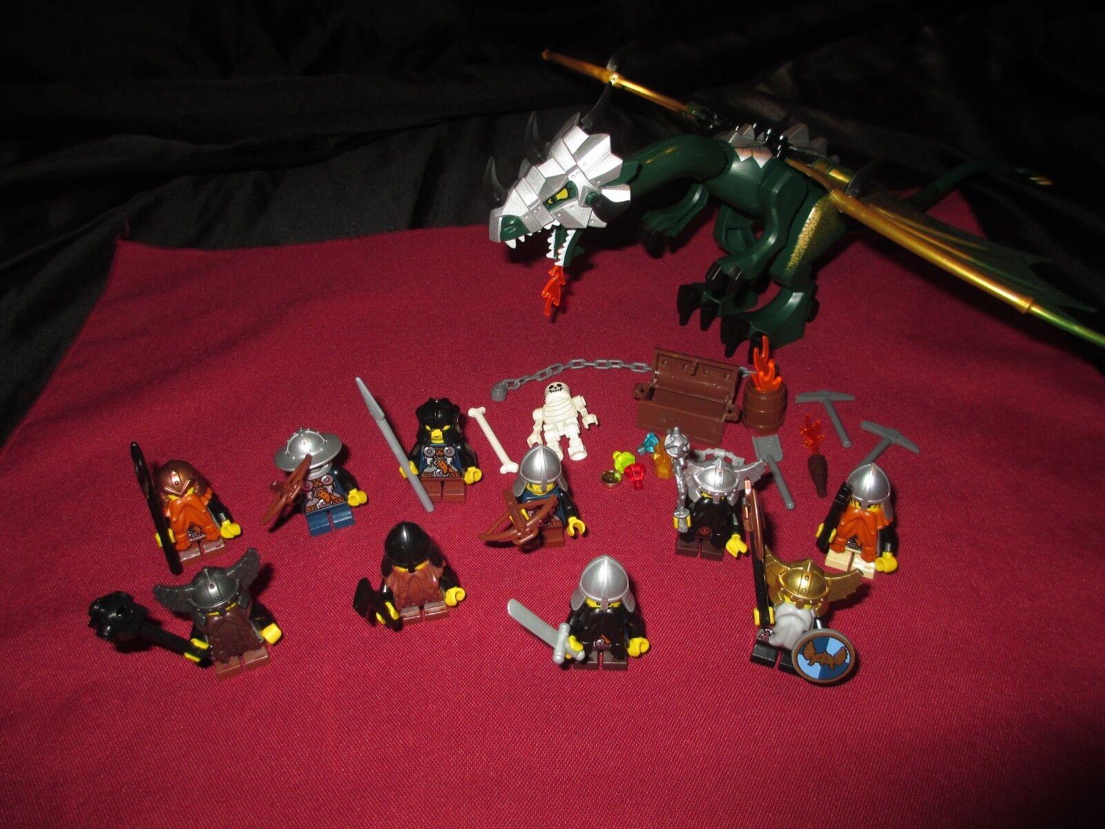 Lego Castle Dragon minifigures  lot chevaliers, Nains, soldats, Armes, armures.  acheter pas cher