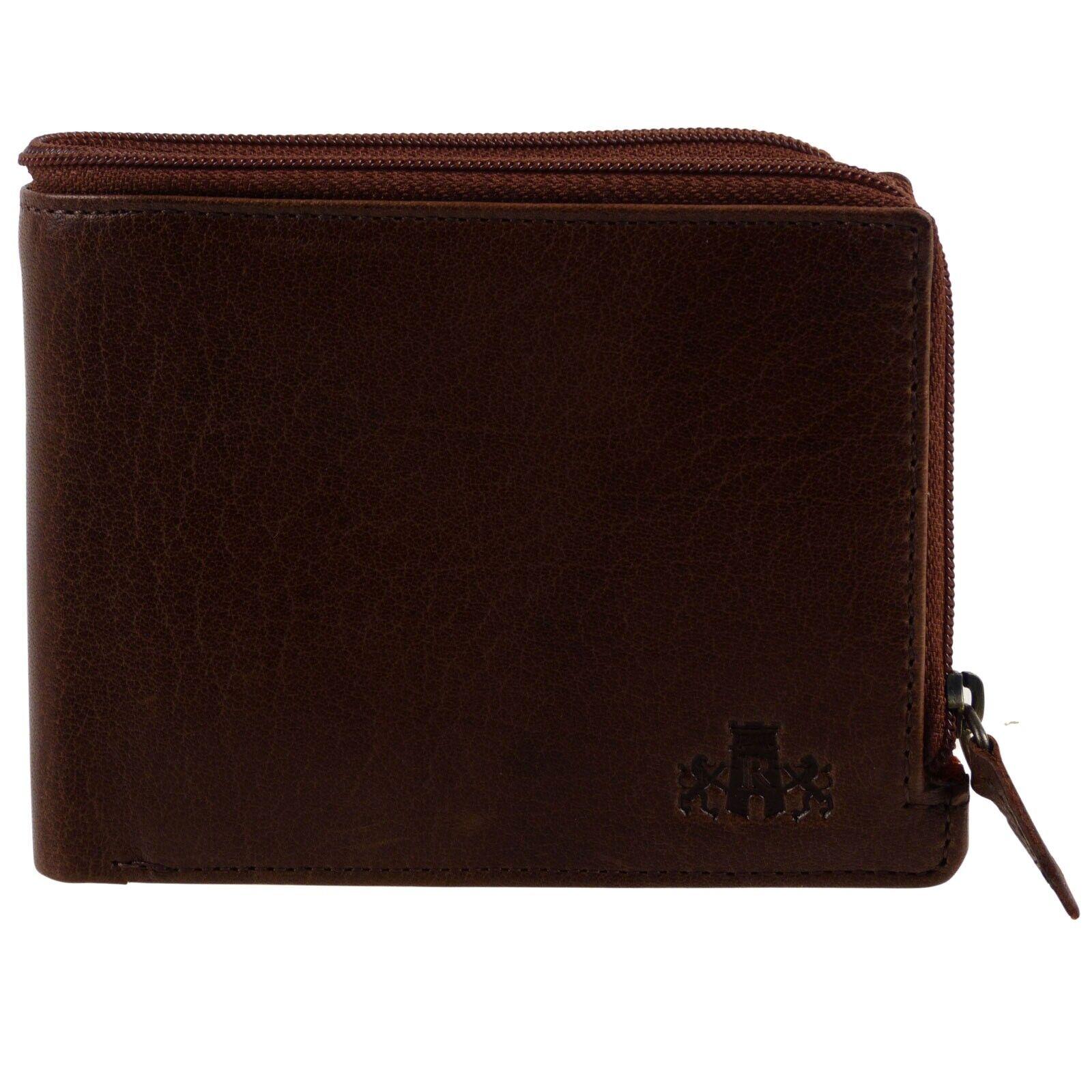 Mens Vintage Buffalo Leather Bi-Fold Wallet by Rowallan Zipped Change Veg Tan