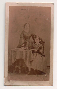 Vintage-CDV-Mother-amp-daughter-having-Tea-J-Gfruzet-Photo-Bruslles