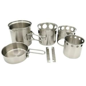 Outdoor Camping Cookware Set Wood Stove Cooking Pot Set Stainless Steel Tableware Folding Cookware For Backpacking Fishing New Sports & Entertainment