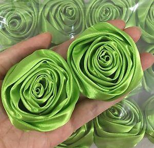 "2/"" Lot 50pc Green Satin Ribbon Rose Flowers Craft DIY Wedding Bouquet 50mm"