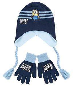 Boys-Girls-Kids-Official-Minions-Navy-Light-Blue-Winter-Hat-amp-Gloves-Set