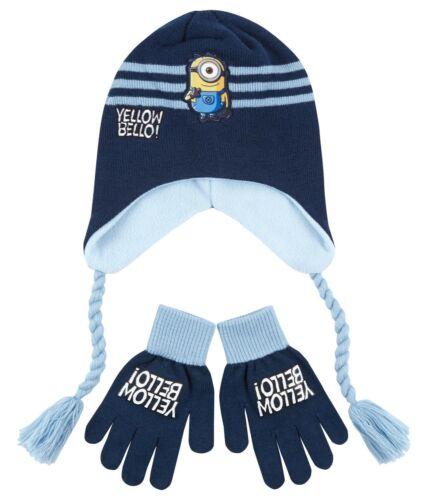 Light Blue Winter Hat /& Gloves Set Boys Girls Kids Official Minions Navy