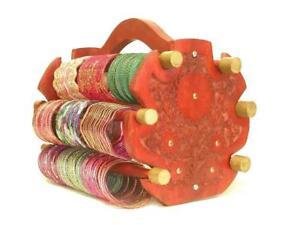 Handmade Wooden Bangle Display Indian Jewelry Glass Bracelet Holder Rack Stand