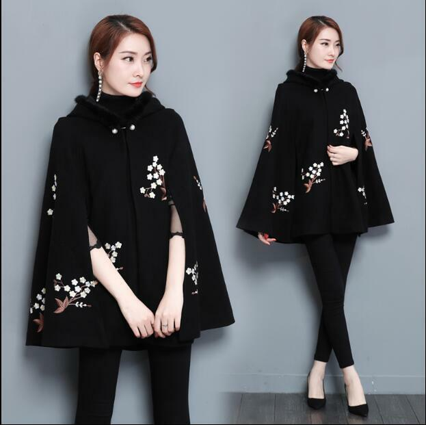 Womens Cape Embroidery Coat Cloak Hooded Loose Loose Loose Fit Casual Outwear Warm Retro X30 01f290