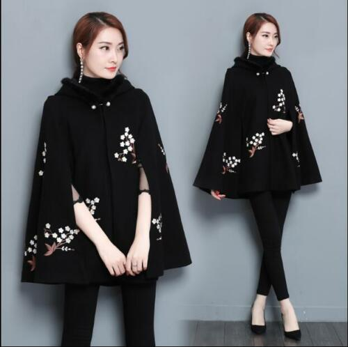 Loose X30 à de broderie de Casual capuche Manteau Retro pour Warm cape femmes Fit Outwear 6q8gUnY4n