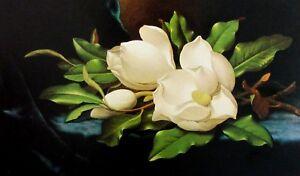 Vintage-Art-Martin-Johnson-Heade-Fighting-Hummingbirds-Orchids-Giant-Magnolia