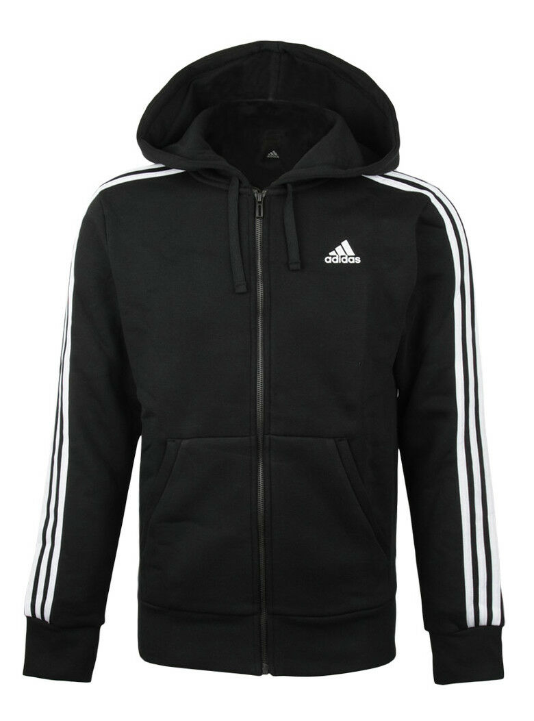 Adidas essenziale zip 3s piena zip essenziale cappuccio (cf5056) in palestra con cappuccio sopra la giacca. 20ffe4
