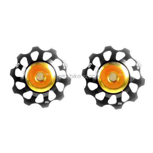 2pc BLACK Rear Derailleur 10T Alloy Jockey Wheels Pulley For CAMPY