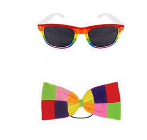 Gay Pride Rainbow Dark Lens Glasses With Multi Colour Large BowTie LGBT Festival