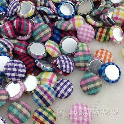 15mm scot style gingham fabric covered button  flat back as hair accessorie CT20