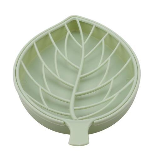 Double Layer Leaf Shape Drain Soap Box Soap Storage Box Container Portable G