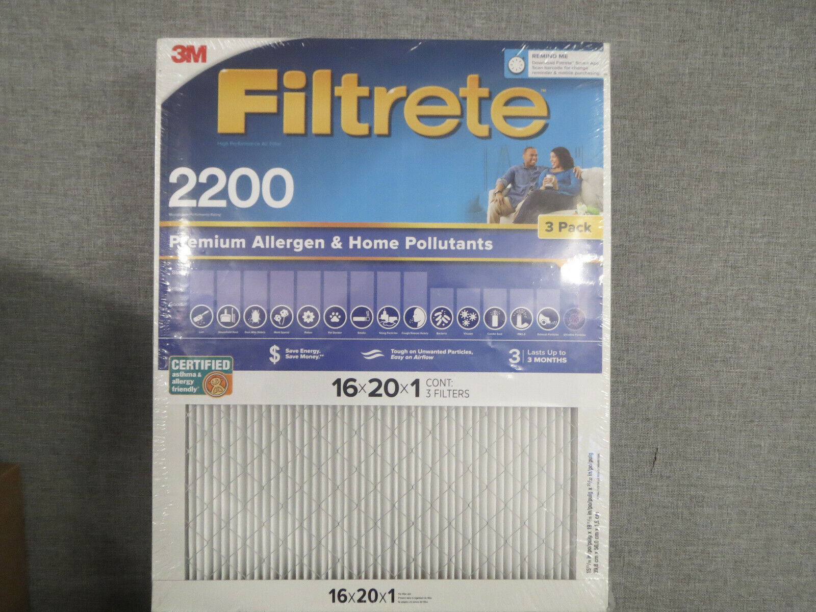 NEW 3 FILTRETE MPR 2200 20 X 25 X 1 PREMIUM ALLERGEN FILTER 3 PACK SEALED