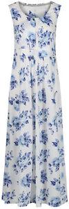 Maine-Debenhams-White-Blue-Floral-Jersey-Maxi-Midi-Dress-Size-8-10-12-14-P169