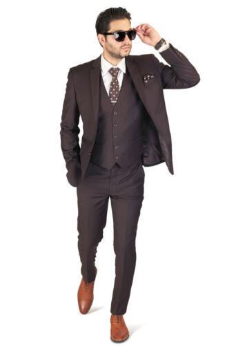 Dark Brown Slim Fit Men Suit 2 Button Notch Lapel Azar Man Vest Optional 4030