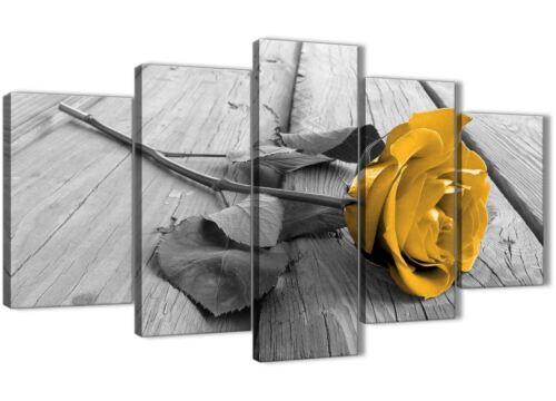 5454-160 cm 5 Pièce Jaune Moutarde Gris Rose Fleur-Salon Toile Art