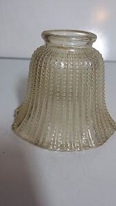 Set Of 2 Vintage Amber Beaded Glass Lamp Shades Globes