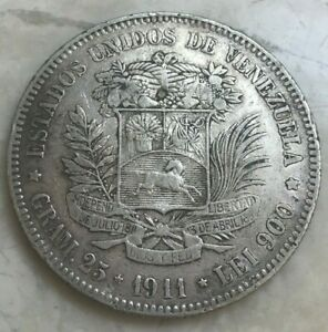 1911 Venezuela 5 Bolivares - Big Silver