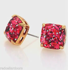 Auth New KATE SPADE New York Pink Fuchsia Glitter 12k GP Studs Earrings