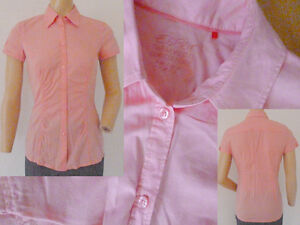 Esprit-Bluse-Hemdbluse-Damen-Kurzarm-rosa-figurbetont-tailliert-Stretch-Gr-34-XS