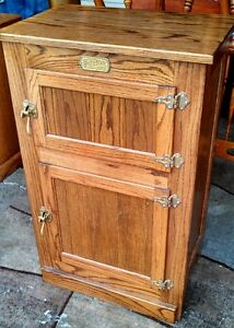 Oak Simmons Hardware Co St. Louis Ice Box Cabinet White Clad | eBay