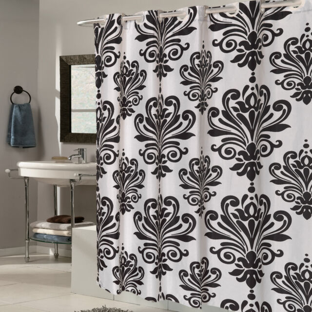 EZ On Beacon Hill Fleur De Lis 70x75 Hookless Fabric Shower Curtain