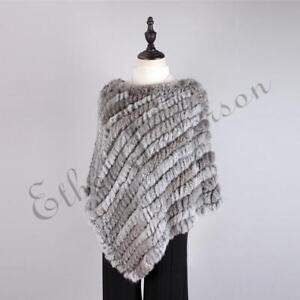 Fashion-Womens-Genuine-Rabbit-Fur-Knitted-Pullover-Cape-Shawl-Poncho-Coat-Jacket