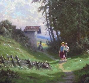 Muenchener-Maler-Wer-kennt-Signatur-unleserlich-Wald-Kinder-um-1930-signiert