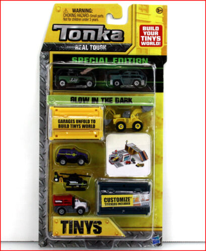 6 Vehicles 106 Tonka Tinys Glow-In-Dark Special Edition Backhoe Police